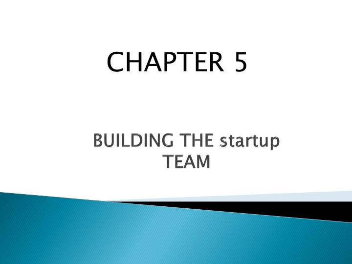 building the startup team n.