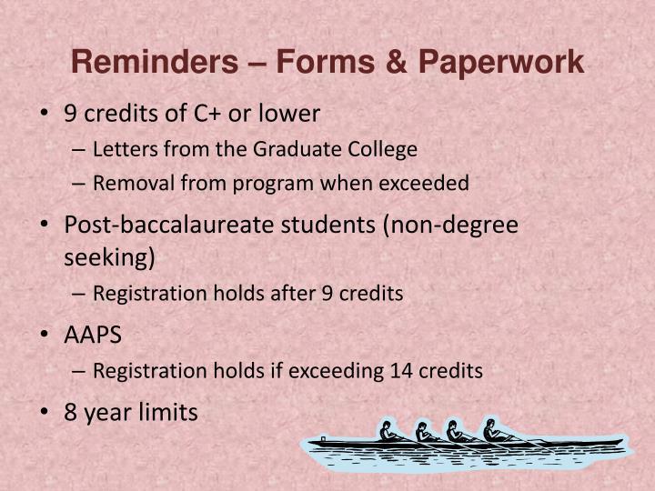 Reminders – Forms & Paperwork