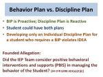 behavior plan vs discipline plan