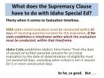 what does the supremacy clause have to do with idaho special ed