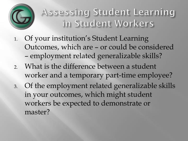 assessing student learning in student workers n.