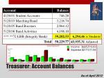 treasurer account balances