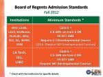 board of regents admission standards fall 2012