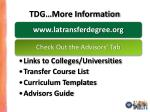 tdg more information