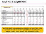 sample reports using epm add in1