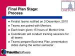 final plan stage process