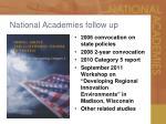 national academies follow up