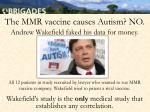 the mmr vaccine causes autism no1