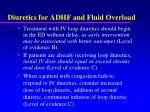 diuretics for adhf and fluid overload