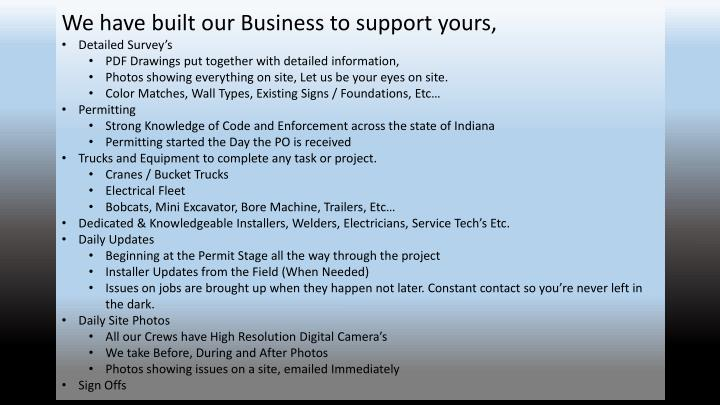 We have built our Business to support yours,