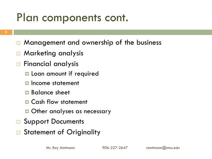 Plan components cont.