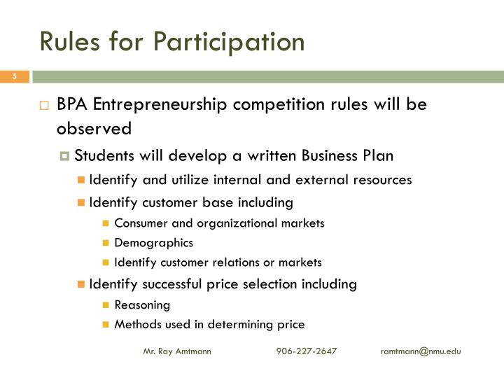 Rules for Participation