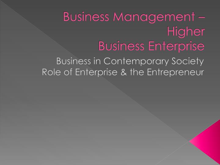 business management higher business enterprise n.