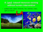 a land natural resources existing without human intervention