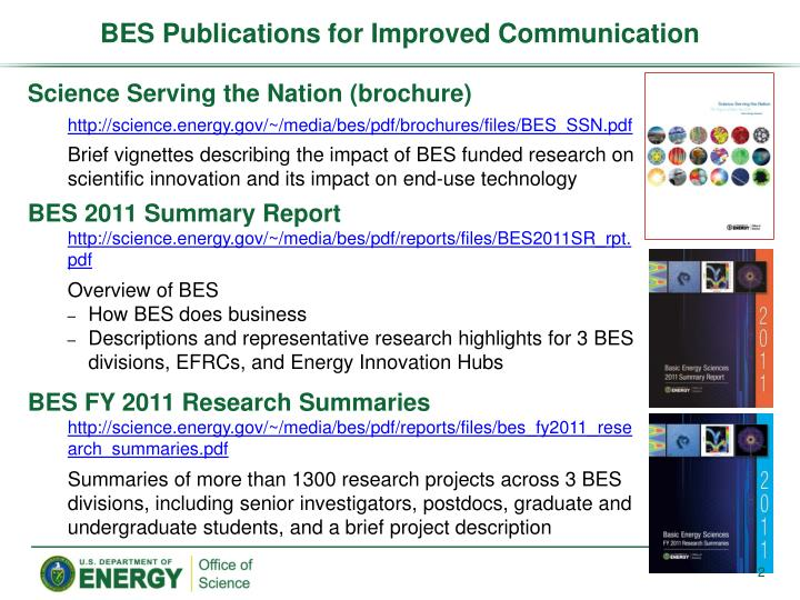 Bes publications for improved communication
