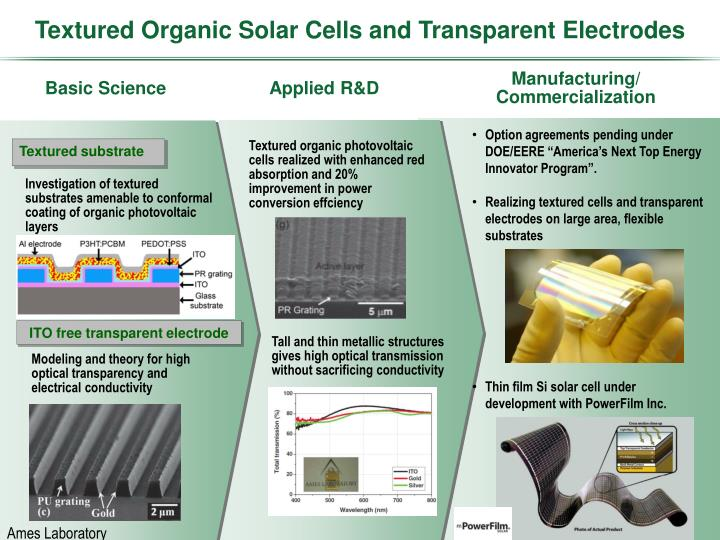 Textured Organic Solar Cells and Transparent Electrodes