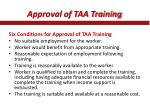 approval of taa training