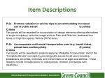 item descriptions