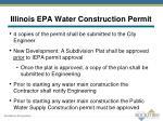 illinois epa water construction permit