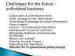 challenges for the future unfinished business