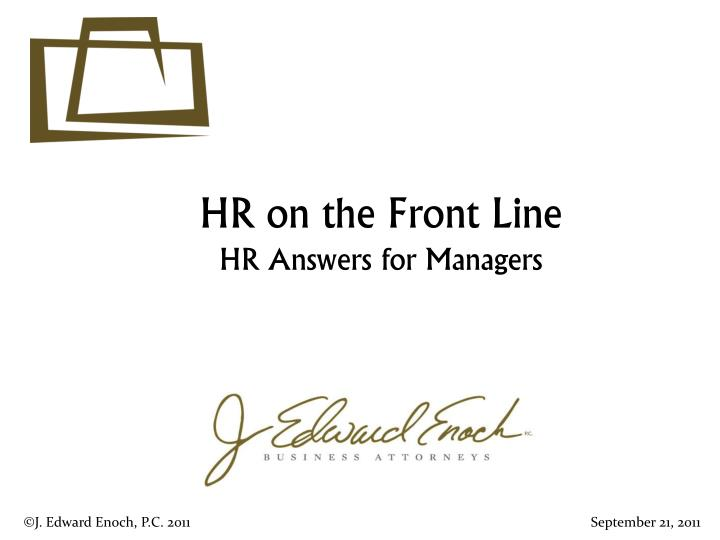hr on the front line hr answers for managers n.