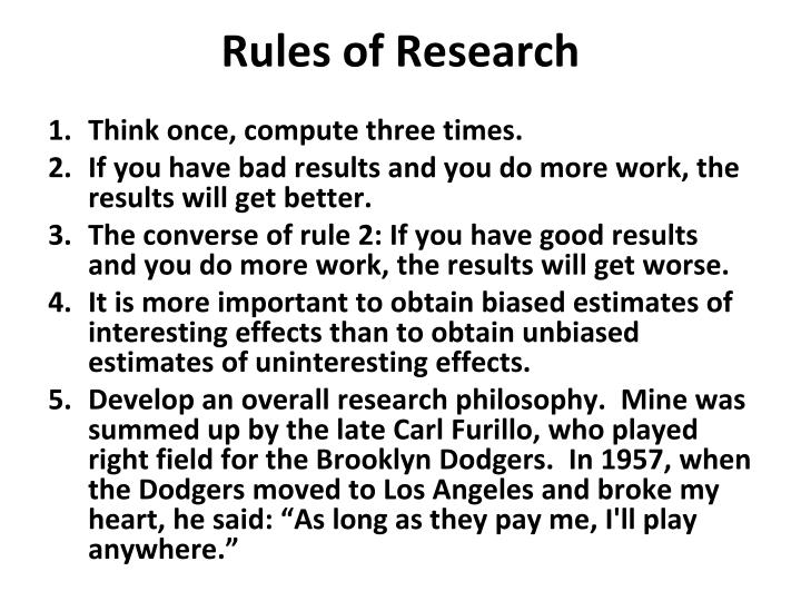 Rules of Research
