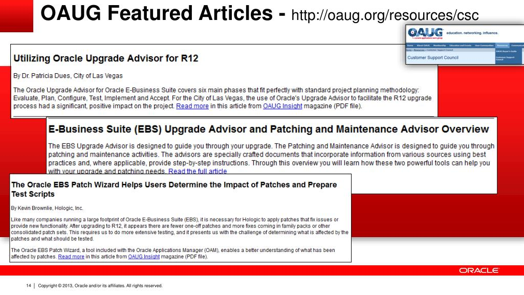 PPT - Oracle E-Business Suite Upgrade Advisor helps