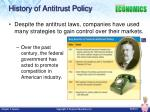 history of antitrust policy