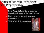 forms of business ownership sole proprietorship