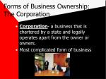forms of business ownership the corporation