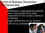 forms of business ownership the partnership