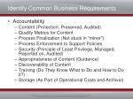 identify common business requirements