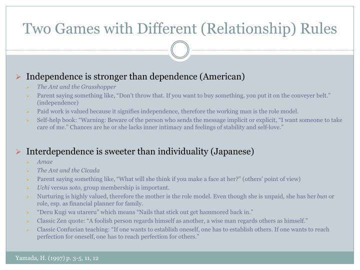 Two Games with Different (Relationship) Rules