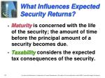 what influences expected security returns