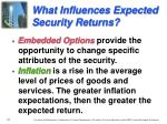 what influences expected security returns1