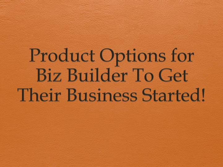 product options for biz builder to get their business started n.