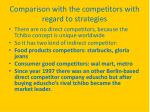comparison with the competitors with regard to strategies