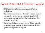 social political economic context