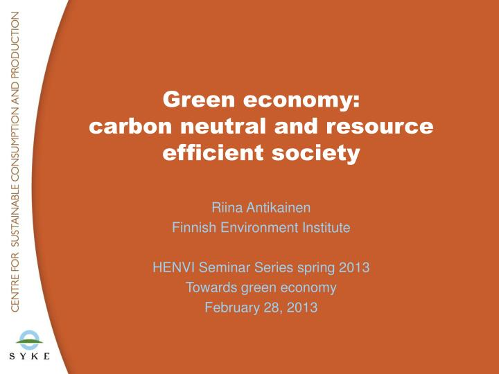 green economy carbon neutral and resource efficient society n.