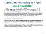 luminultra technologies april 2011 newsletter
