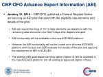 cbp ofo advance export information aei