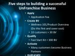 five steps to building a successful unfranchise business