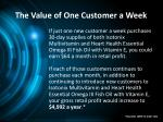 the value of one customer a week