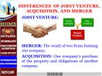 differences of joint venture acquisition and merger