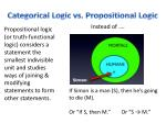 categorical logic vs propositional logic