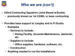 who we are con t