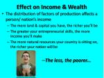 effect on income wealth