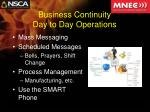 business continuity day to day operations