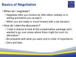 basics of negotiation