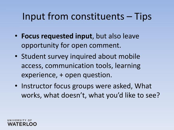 Input from